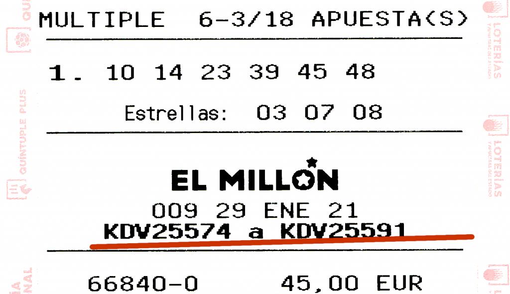 Códigos del Millón del Euromillón en una apuesta múltiple